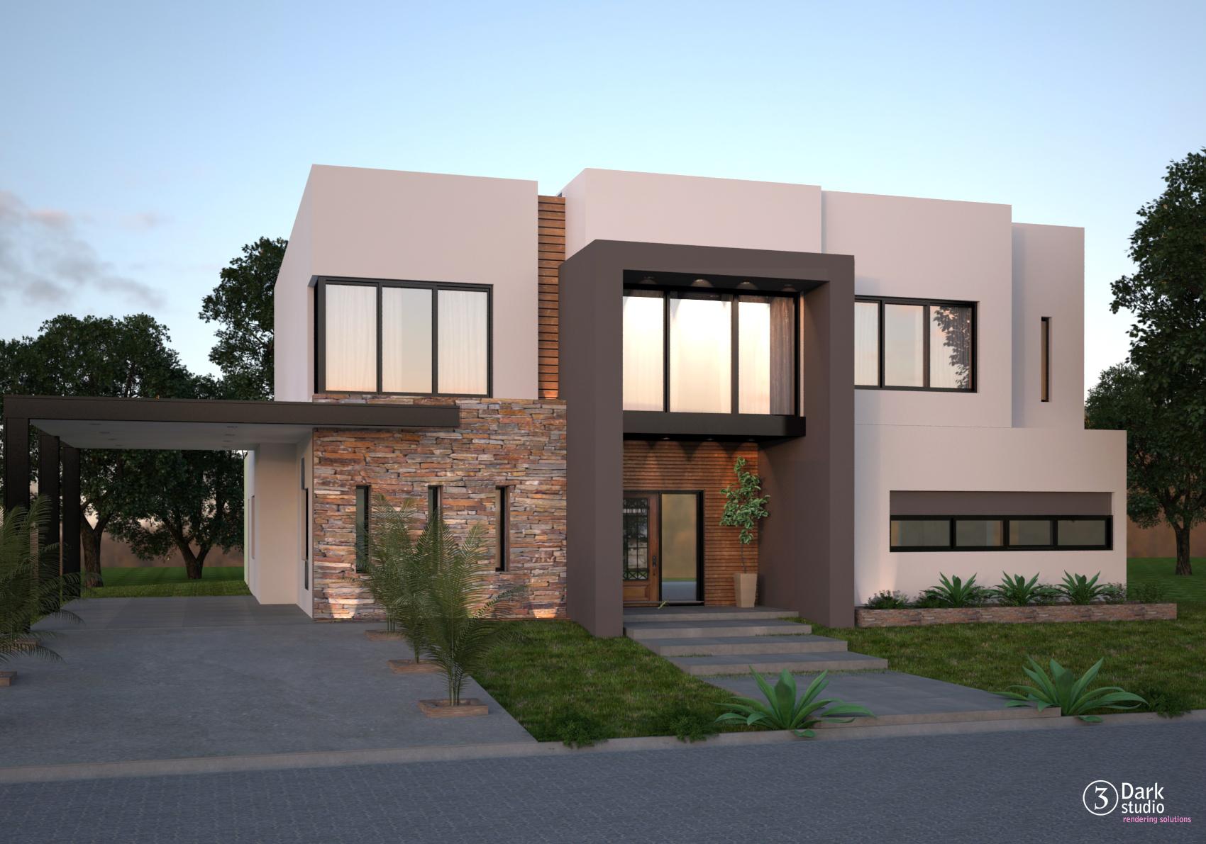Frente casas modernas casas modernas con terraza al for Frentes de viviendas modernas